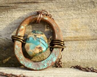 Artisan Copper Greek Patina Pendant Necklace Rustic Impression Jasper Stone
