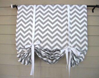 Gray White Chevron 36 Inch Long Swedish Roll Up Shade Stage Coach Swag Blind Tie Up Curtain Swag Balloon