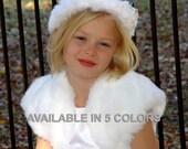 CHILD Size mink faux fur bolero jacket bridal wedding coat shurg stole wrap FBC100 AVAILABLE in white, ivory, baby pink, brown, black