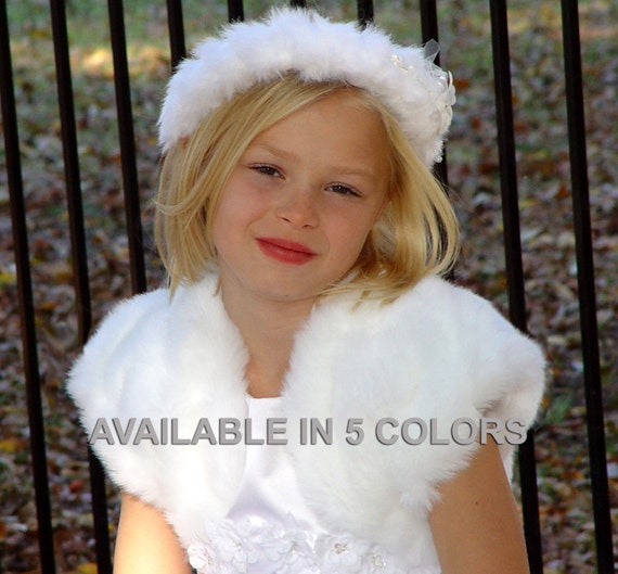 CHILD Size mink faux fur bolero jacket bridal wedding coat shurg stole wrap FBC100 AVAILABLE in white, ivory, baby pink, brown, black