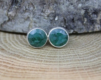 Raw Rough Faceted Green Emerald  .925 Sterling Silver Bezel Stud Earrings Post May birthstone B5