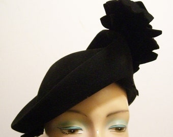 Vintage 1940's Black Fur Felt Women's Hat