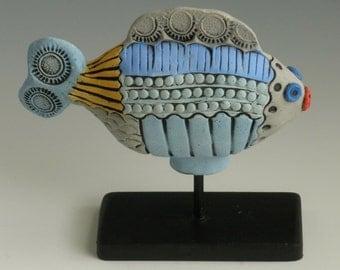 BLUE CERAMIC FISH, Ceramic Clay Fish, Colorful Fish, Porcelain Fish, Whimsical Fish, Fish Sculpture, Sea Creatures, green fish
