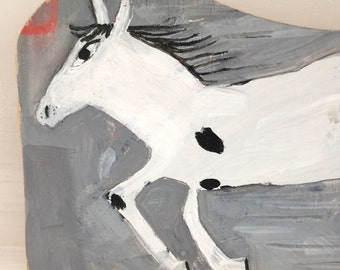 Painting on reclaimed wood of a horse going fast.