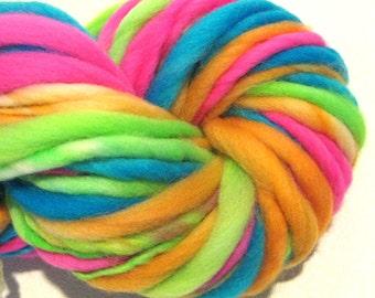 Super Chunky  Bulky Handspun Yarn Electric Easter Egg 60 yards hand dyed merino wool neon yarn waldorf doll hair knitting crochet supplies