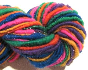 Handspun yarn Summer Lovin 64 yards sparkly art yarn pink blue green yarn corespun yarn knitting supplies crochet supplies Waldorf doll hair