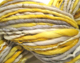 Handspun Yarn SIlver and Gold 122 yards yellow grey gray thread hand dyed merino wool  waldorf doll hair knitting supplies crochet supplies