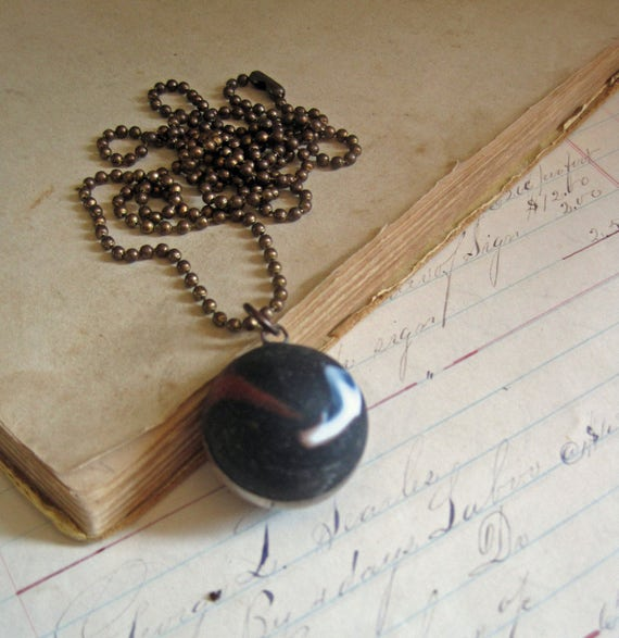 Shooter Marble Necklace Black White Red Matte Glass Jewelry *Sale*