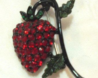 Vintage Hollycraft Strawberry Red Rhinestone Pin Brooch