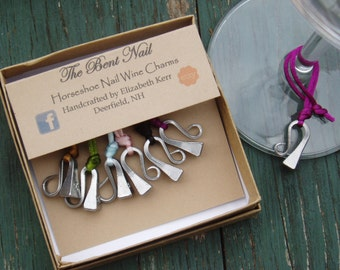 Horseshoe Nail Wine Charms hand bent set of 6