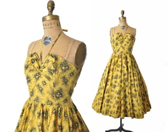 vintage 50s dress / yellow cabbage rose 50s sundress / 1950s dress / 50s halter dress