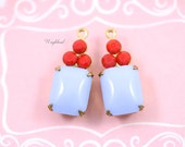 Set Stones Vintage Octagon Stone and Swarovski Crystals 1 Ring Brass Settings Earring Charms 19x8mm Light Blue & Opaque Red - 2