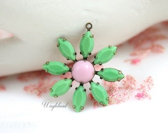 Daisy Flower Pendant with Vintage Stones in Antique Brass Setting - Apple Green & Opaque Pink - 30mm - F058 .