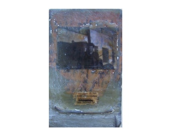 """Mixed-Media, collage, encaustic on wood, """"Telescopes"""""""