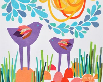 "SALE - Original Paper Collage ""Bird Park"" Colorful Birds Children's Decor - One of a Kind by Megan Jewel"