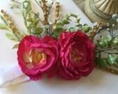 girls shocking pink floral head piece stretch Headband Photograpy Prop