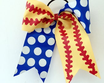 SALE Softball Stitches Yellow and Cobalt Blue chunky dots Print Bow Girls Ponytail Holder