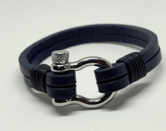 Leather Wrap Bracelet Leather Bracelet Leather Cuff with Stainless Shackle Clasp in Blue Color