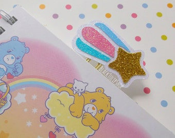 Kawaii Planner Clip Accessories Pastel Glitter Shooting Star Planner Page Marker Bookmark Cute Paper Clip Fairy Kei Sweet Back To School