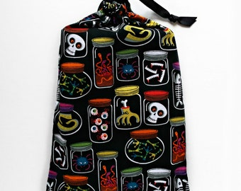 Halloween Planner Cover Drawstring Pouch Planner Bag Drawstring Pouch Zombie Skulls Halloween Tote Bag Eyeballs Black Planner Accessories
