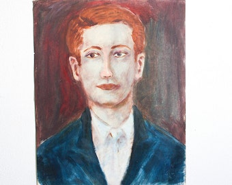 Vintage Male Portrait / Outsider Art / 15 x 19 / Original Acrylic Painting on Found Paper