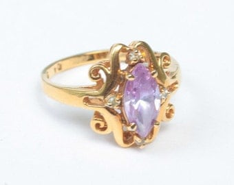 CIJ Sale Amethyst Glass Ring Fancy Setting Clear Accents Size 10  Vintage