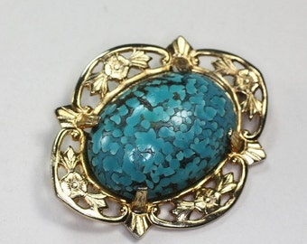 CIJ Sale Turquoise Art Glass Cabochon Brooch Floral Gold Tone Setting Vintage