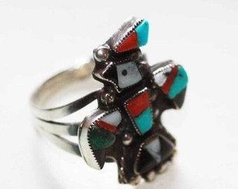 CIJ Sale Zuni Style Inlaid Ring Thunderbird Coral Onyx MOP Sterling Size 7 US British O