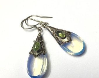 CIJ Sale Opaline Glass Dangle Earrings Peridot Accent Sterling Overlay Pierced Ears Vintage