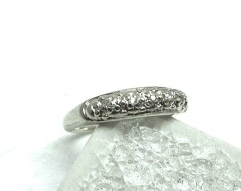 Art Deco Solid 18K White Gold And Diamond Chip Engagement Ring - Signed First Lady - Size 3.25