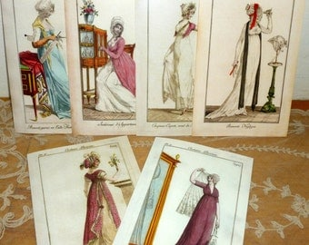 """Large French Fashion Cards """"Costume Parisien """""""