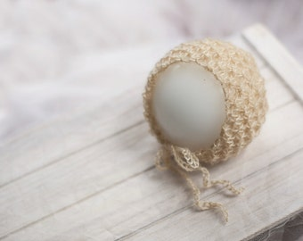 Lace Knit Mohair Blend Bonnet - lots of colors - newborn baby photo prop