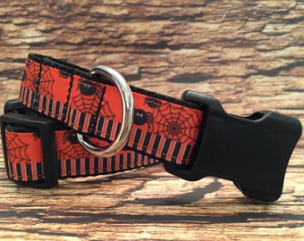 Halloween Dog Collar with Spiders and Webs in Side Release Buckle Style Sizes M - L - XL