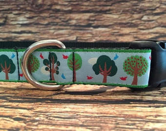 Trees Dog Collar, In Size XL, Side Release Buckle Style, Last One