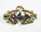 Antique Early Victorian 10K Amethyst Brooch For Repair or Restoration Project - As Is