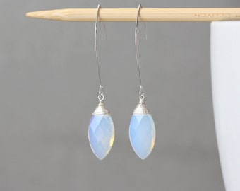 Moonstone Opalite Glass Marquise Silver, Bridal Jewelry, Bridal Shop, Winter Weddings, Marquise Earrings, Gift for Wife, Holiday Party, Gift