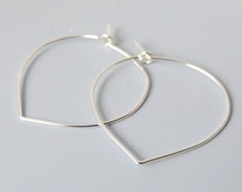 "Lotus Petal Hoops Sterling Silver Lightweight Hoop Earrings 1.25"" inch"