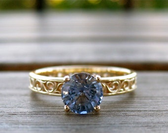 Blue Sapphire Engagement Ring in 14K Yellow Gold with Scrolls Pattern Size 7