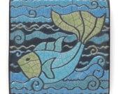 Fish,Ceramic tile, a 4 x 4 inch handmade raku fired art tile