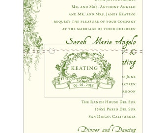 PRINTABLE Vintage Garden Wedding Invitation - Collection options available