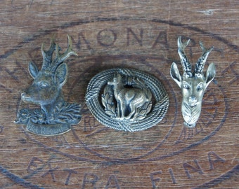 Lot of Three Vintage European Deer Pins/Brooches