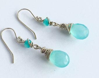 Aqua Chalcedony and Apatite Earrings, Sterling Silver and Gemstone Dangle Earrings