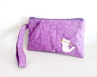 Purple wristlet, iPhone wallet, iPhone wristlet, iPhone 6s plus pouch, zipper wallet, cat wristlet, clutch purse, cat wristlet, sales