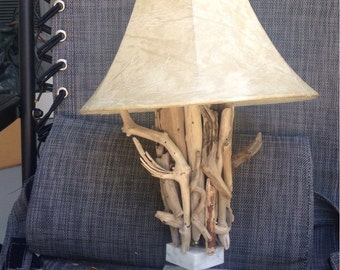 Upcycled vintage table lamp real driftwood marble base Lake Superior hand crafted