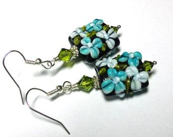 Lampwork Glass Art Earrings, Aqua, Black, Green, Wedding Jewelry, Lampwork Square , Antique Silver, Spiritcatdesigns