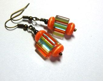 Autum Orange Stripe Earrings, Multi Color Earrings, Cat's Eye Stone Earrings, Antique Brass, Spiritcatdesigns