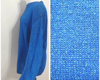 Oversized VTG 80s Lurex Cotton Blend Long Sweater Royal Blue & Turquoise Long Pullover Knit Metallic Thread Crew Neck Jumper Pull