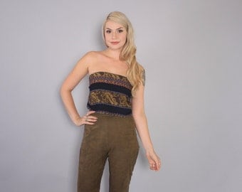 Vintage 90s Strapless Top / 1990s Ethnic Woven Cotton Leather Trim Crop Top