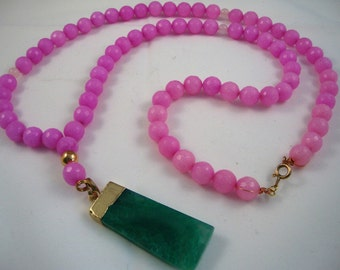 """32"""" long light pink agate layering necklace with green agate pendant"""