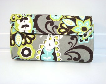Cash Envelope Budget Wallet Dave Ramsey System Cash Wallet Systme / Zipper Envelopes - Lime Floral